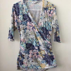 CAbi | Floral top | Faux wrap | Size L